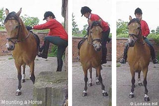 mounting a horse